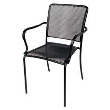 Chesapeake Black Stackable Outdoor Micro Mesh Arm Chair