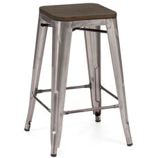 Dreux Clear Gunmetal Stackable Steel Counter Stool with Dark Elm Wood Seat - Set of 4