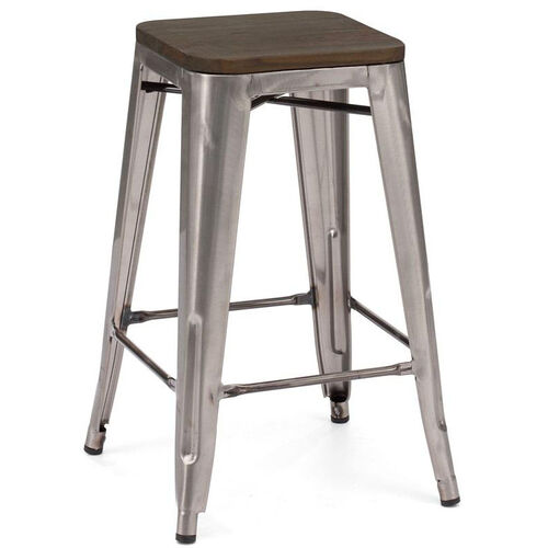 Dreux Stackable Steel Counter Stool with Dark Elm Wood Seat - Set of 4