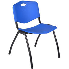 M'' 30''H Armless Stackable Plastic Chair with Handle - Set of 40 - Blue
