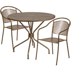 "Commercial Grade 35.25"" Round Gold Indoor-Outdoor Steel Patio Table Set with 2 Round Back Chairs"