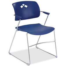 Safco Blue Flex Back Plastic Stacking Chair with Arms and Steel Frame - Set of 4
