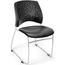 Stars Stack Chair with Vinyl Seat - Charcoal