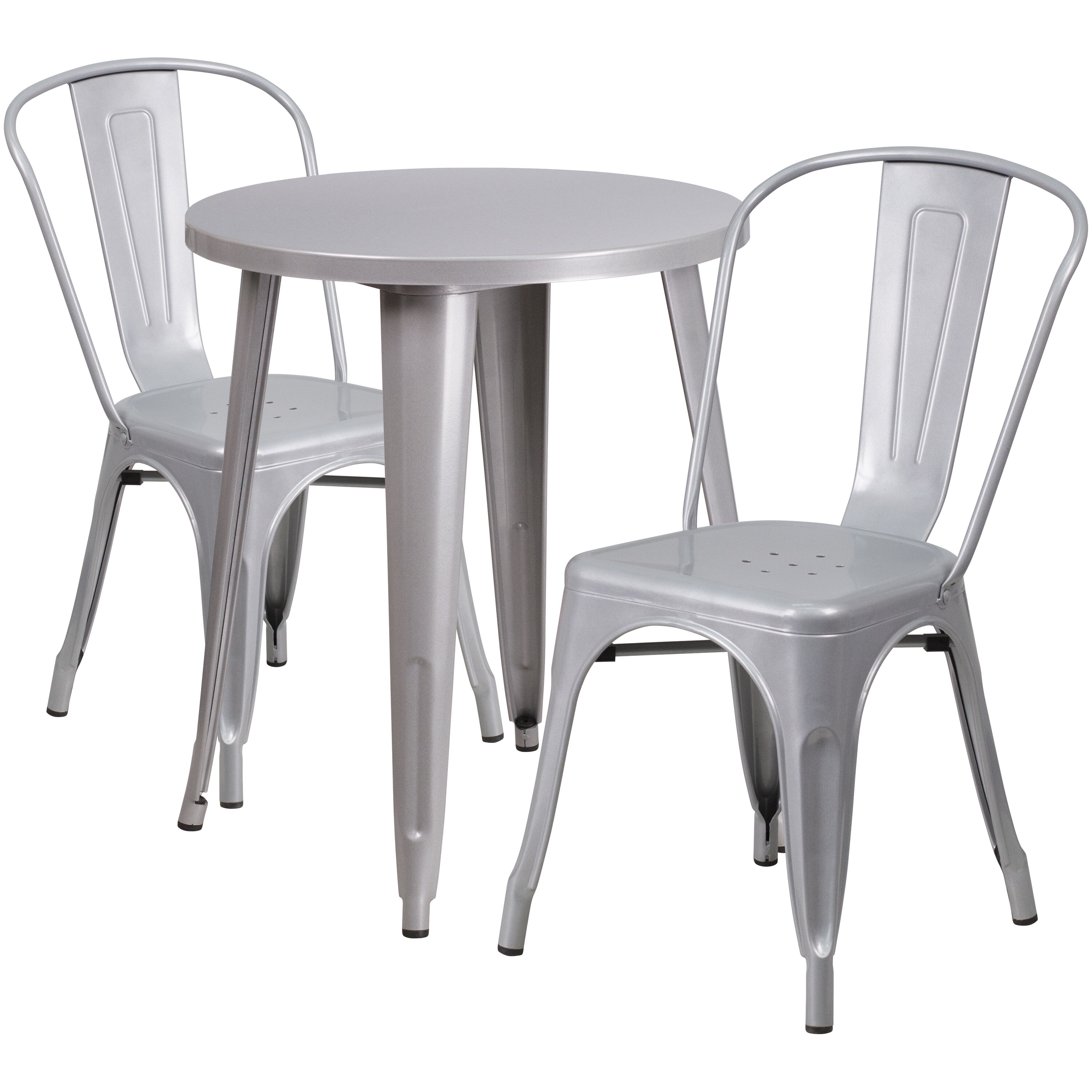 ... Our 24u0027u0027 Round Silver Metal Indoor Outdoor Table Set With 2 Cafe Chairs