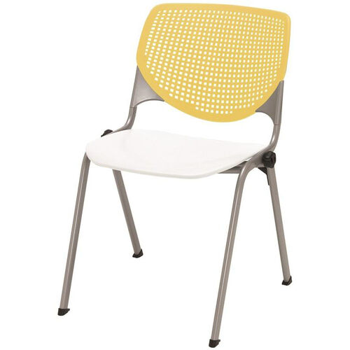 Our 2300 KOOL Series Stacking Poly Armless Chair with Yellow Perforated Back and White Seat is on sale now.