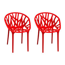 Branch Stackable Outdoor Red Accent Chair - Set of 2