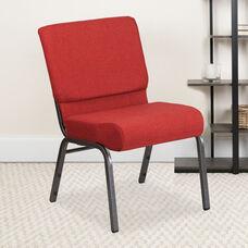 HERCULES Series 21''W Stacking Church Chair in Crimson Fabric - Silver Vein Frame