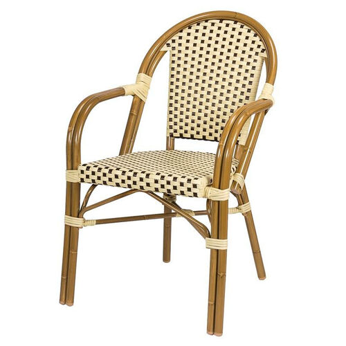 Our Paris Indoor/Outdoor Stackable Arm Chair with Light Bamboo Aluminum Frame - Cream and Chocolate is on sale now.