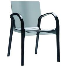 Dejavu Contemporary Polycarbonate See Through Arm Chair - Transparent Black