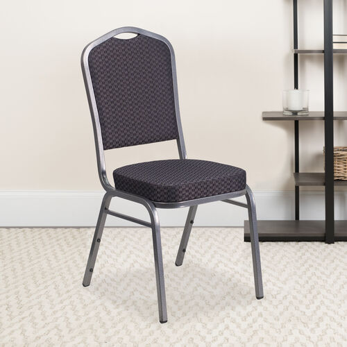 Our HERCULES Series Crown Back Stacking Banquet Chair in Black Patterned Fabric - Silver Vein Frame is on sale now.
