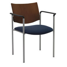 1300 Series Stacking Guest Armchair with Chocolate Wood Back - Grade 2 Upholstered Seat