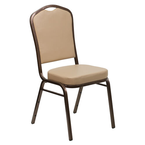 Our HERCULES Series Crown Back Stacking Banquet Chair in Tan Vinyl - Copper Vein Frame is on sale now.