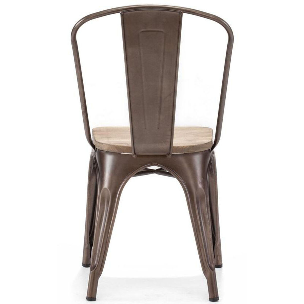 Our Dreux Stackable Rustic Matte Steel Side Chair With Light Elm Wood Seat Set Of