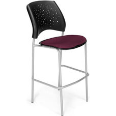 Stars Cafe Height Chair with Fabric Seat and Silver Frame - Burgundy