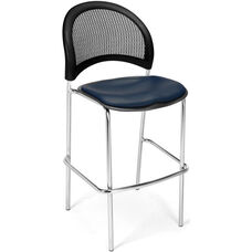 Moon Cafe Height Chair with Vinyl Seat and Chrome Frame - Navy