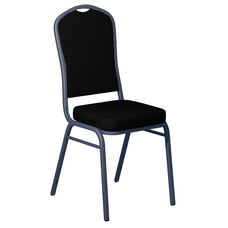 Embroidered Sherpa Black Fabric Upholstered Crown Back Banquet Chair - Silver Vein Frame