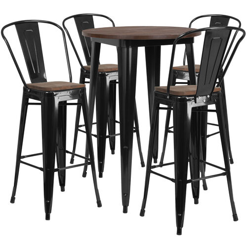 "Our 30"" Round Black Metal Bar Table Set with Wood Top and 4 Stools is on sale now."