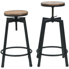 Vintage Industrial Stackable Swivel Backless Barstool with Wood Seat - Set of 2