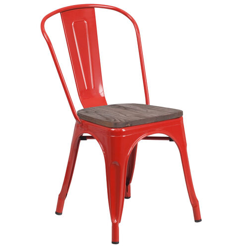 Our Red Metal Stackable Chair with Wood Seat is on sale now.
