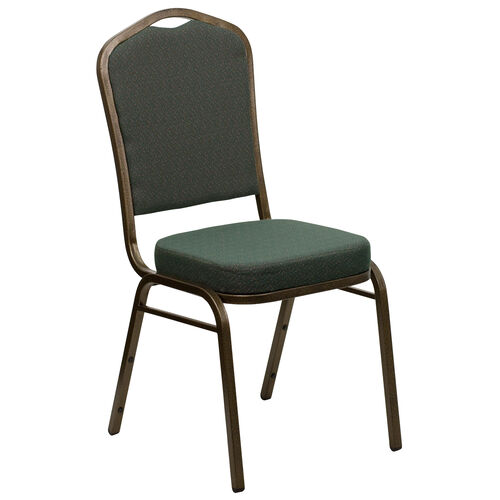 Our HERCULES Series Crown Back Stacking Banquet Chair in Green Patterned Fabric - Gold Vein Frame is on sale now.