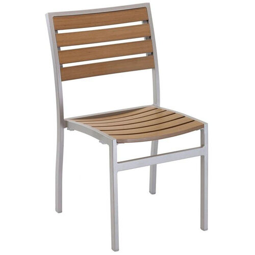 Our Cedar Key Outdoor Stackable Side Chair with Faux Teak - Silver Frame is on sale now.
