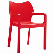 Diva Outdoor Resin Stackable Dining Arm Chair - Red