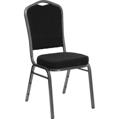 Our HERCULES Series Crown Back Stacking Banquet Chair in Black Dot Patterned Fabric - Silver Vein Frame is on sale now.