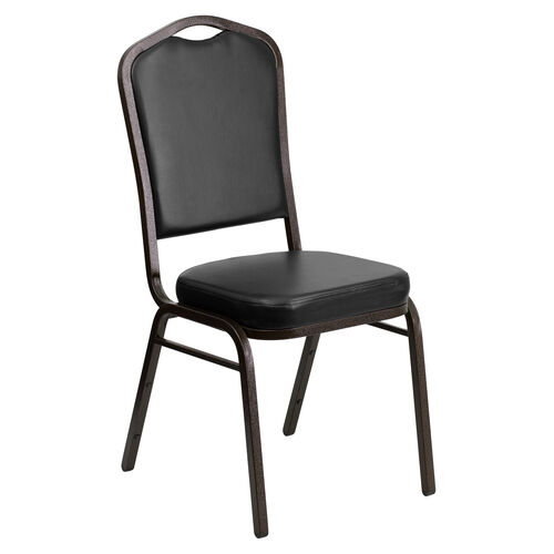 Our HERCULES Series Crown Back Stacking Banquet Chair in Black Vinyl - Gold Vein Frame is on sale now.
