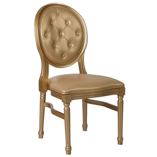 Our HERCULES Series 900 lb. Capacity King Louis Chair with Tufted Back, Gold Vinyl Seat and Gold Frame is on sale now.