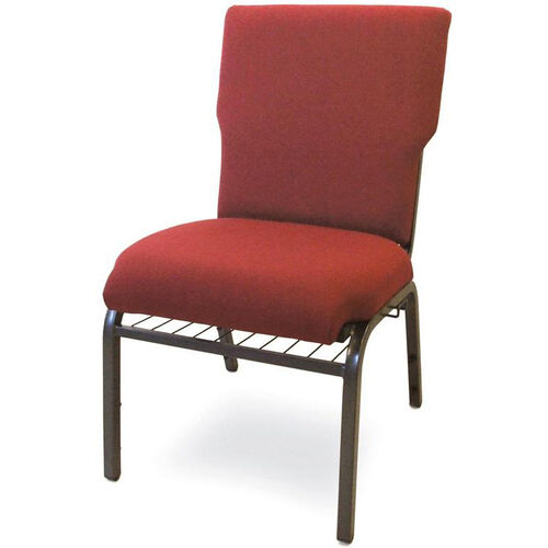Auditorium Steel Frame Fabric Upholstered Stacking Chair - Burgundy