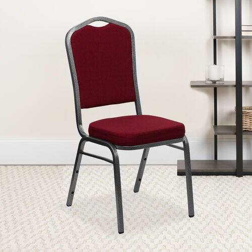 Our HERCULES Series Crown Back Stacking Banquet Chair in Burgundy Fabric - Silver Vein Frame is on sale now.