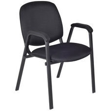 Ace 33''H Metal Frame Stackable Chair - Black Fabric