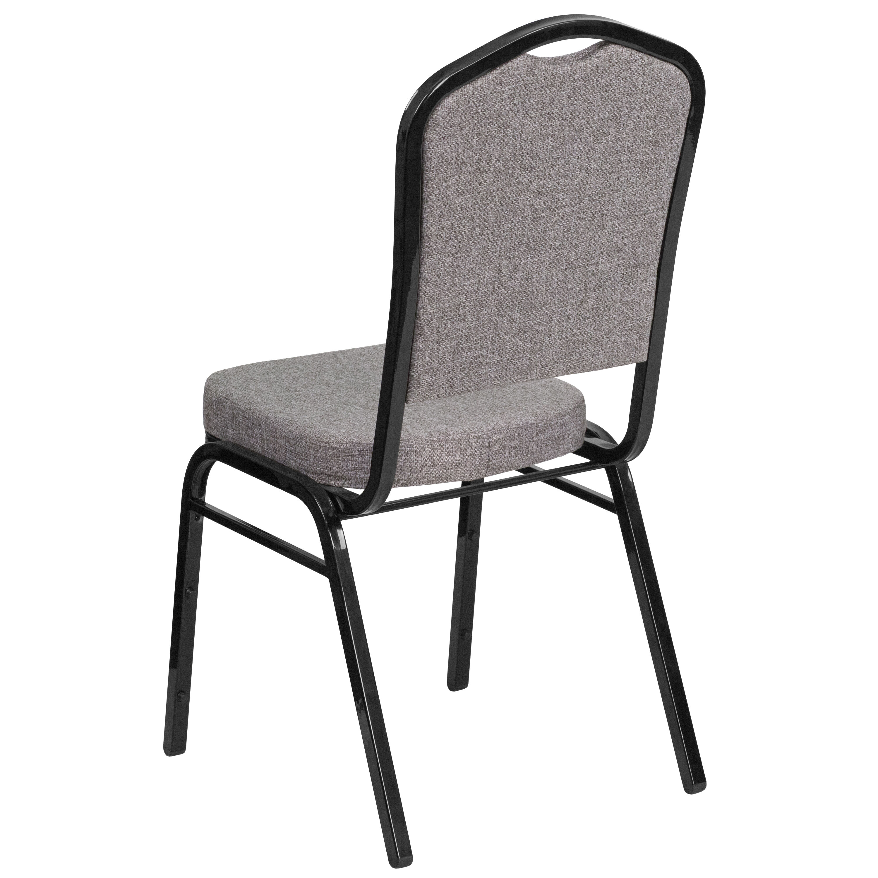 Flash Furniture HERCULES Series Crown Back Stacking Banquet Chair In Gray  Fabric   Black Frame FD C01 B 5 GG | StackChairs4Less.com