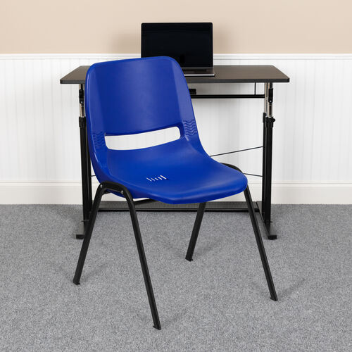 HERCULES Series 661 lb. Capacity Navy Ergonomic Shell Stack Chair with Black Frame and 16