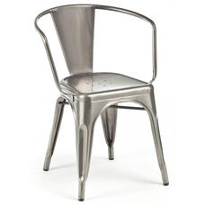 Dreux Clear Gunmetal Stackable Steel Dining Chair - Set of 4