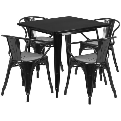 """Our Commercial Grade 31.5"""" Square Black Metal Indoor-Outdoor Table Set with 4 Arm Chairs is on sale now."""
