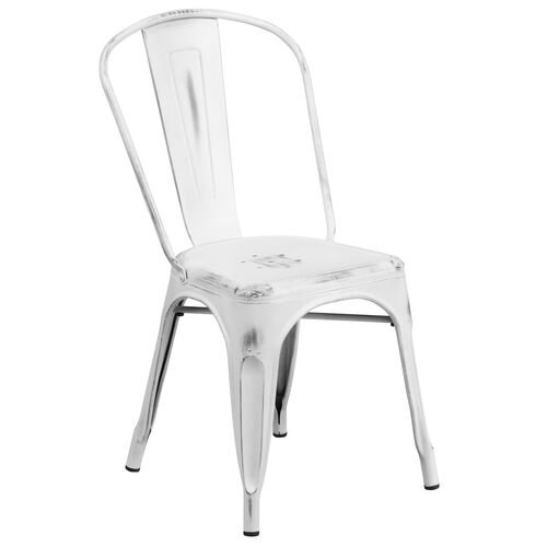 Our Commercial Grade Distressed White Metal Indoor-Outdoor Stackable Chair is on sale now.