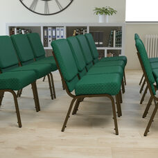 HERCULES Series 21''W Stacking Church Chair in Hunter Green Dot Patterned Fabric - Gold Vein Frame