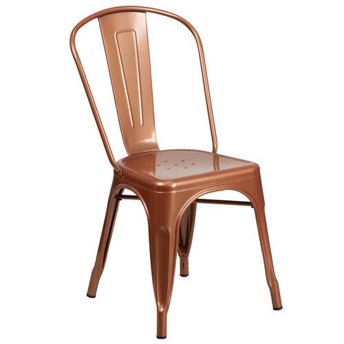 Copper Metal Indoor-Outdoor Stackable Chair
