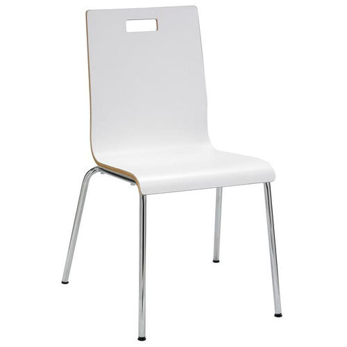 Our JIVE Series Stacking Bentwood Armless Cafe Chair with HPL Surface and Silver Steel Frame White is on sale now.