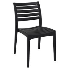 Ares Resin Outdoor Stackable Dining Chair - Black
