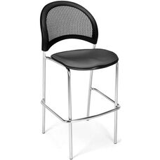 Moon Cafe Height Chair with Fabric Seat and Chrome Frame - Slate Gray