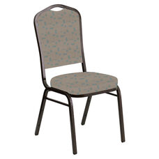 Embroidered Crown Back Banquet Chair in Circuit Oak Fabric - Gold Vein Frame