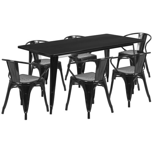 """Our Commercial Grade 31.5"""" x 63"""" Rectangular Black Metal Indoor-Outdoor Table Set with 6 Arm Chairs is on sale now."""