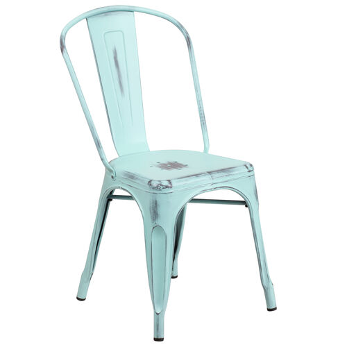 Our Distressed Green-Blue Metal Indoor-Outdoor Stackable Chair is on sale now.