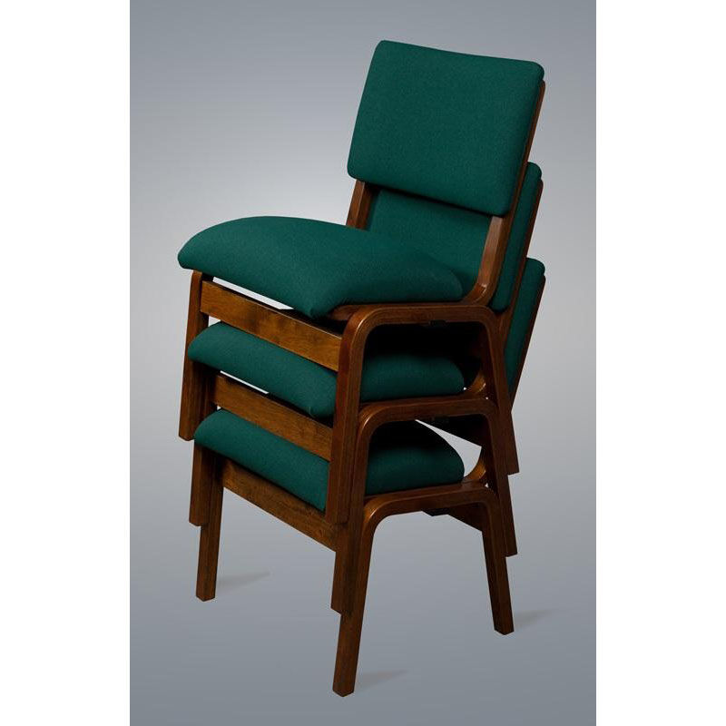 Our Stained Red Oak Narrow Width Upholstered Stacking Chair Is On Sale Now.