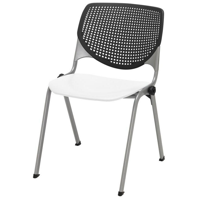 Bon ... Our 2300 KOOL Series Stacking Poly Armless Chair With Black Perforated  Back And White Seat Is ...