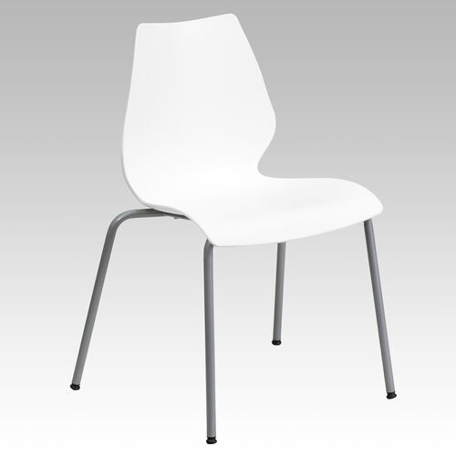 Our HERCULES Series 770 lb. Capacity White Stack Chair with Lumbar Support and Silver Frame is on sale now.