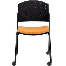 Eddy Armless Stack Side Chair on Casters with Upholstered Seat Pad
