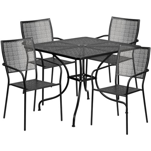 "Our Commercial Grade 35.5"" Square Black Indoor-Outdoor Steel Patio Table Set with 4 Square Back Chairs is on sale now."